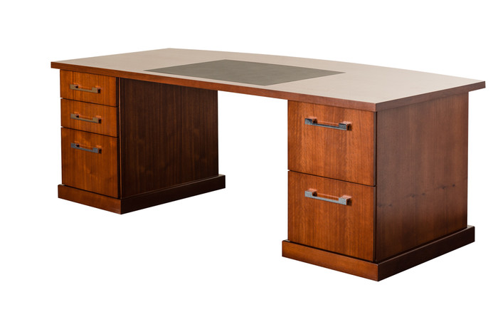 buy a timber veneer executive bow front desk online