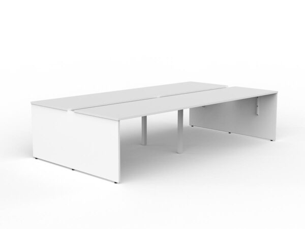 White 4 person desks